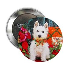 West Highland Westie Christmas Button