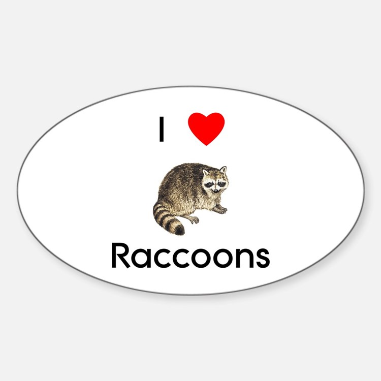 I Love Raccoons Oval Decal