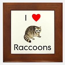 I Love Raccoons Framed Tile