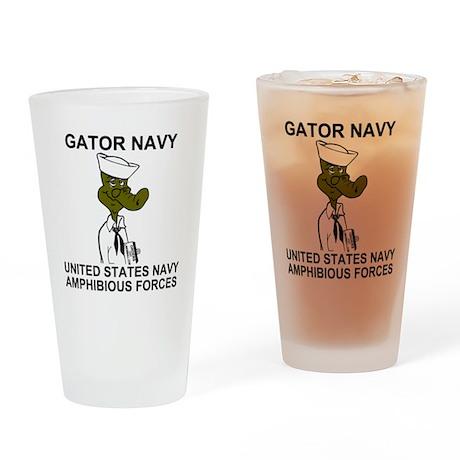 NavyGatorNavyShirtBonnie.gif Drinking Glass