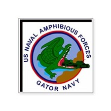 "NavyGatorNavyClock.gif Square Sticker 3"" x 3"""