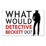 """""""What Would Detective Beckett Do?"""" Sticker (Rectan"""