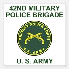 "Army-42nd-MP-Bde-Shirt-2 Square Car Magnet 3"" x 3"""