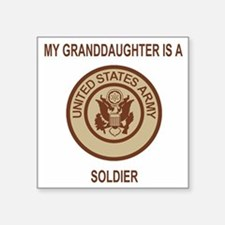 "Army-My-Grandaughter-Khaki. Square Sticker 3"" x 3"""
