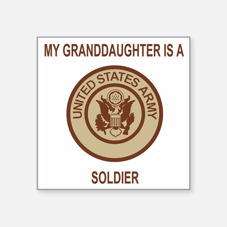 "Army-My-Grandaughter-Khaki. Square Sticker 3"" x 3"""