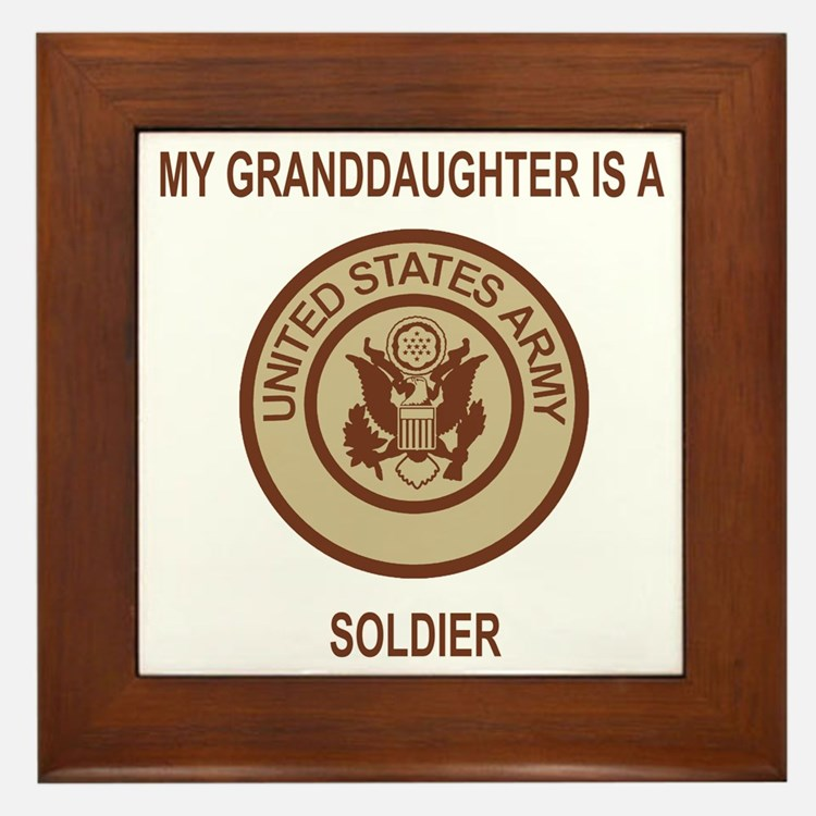 Army-My-Grandaughter-Khaki.gif Framed Tile