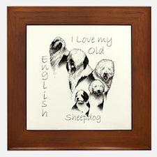 I Love My English Sheepdog Framed Tile