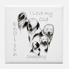 I Love My English Sheepdog Tile Coaster