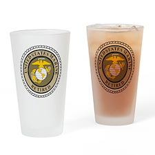 USMC-Retired-Khaki-... Drinking Glass