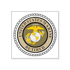 """USMC-Retired-Khaki-... Square Sticker 3"""" x 3"""""""