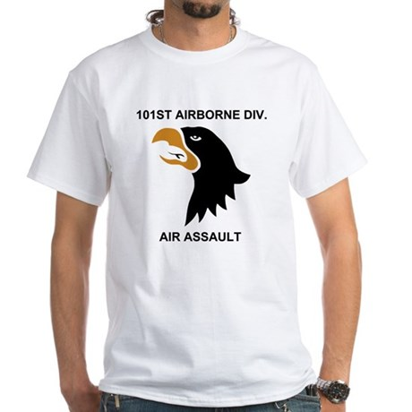 Army-101st-Airborne-Div-Gold-Ring White T-Shirt