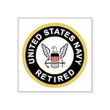 "Navy-Retired-Patch-Black-Bo Square Sticker 3"" x 3"""