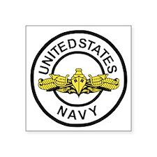 "Navy-SWO-Black-White.gif    Square Sticker 3"" x 3"""