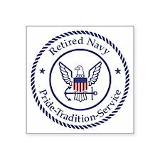 "Navy-Retired-Logo-Bonnie-Mo Square Sticker 3"" x 3"""