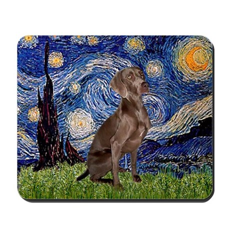 Starry Night & Weimaraner (Nv Mousepad