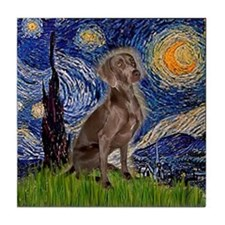 Starry Night & Weimaraner (Nv Tile Coaster