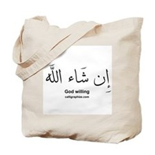 God Willing Insha'Allah Arabic Tote Bag