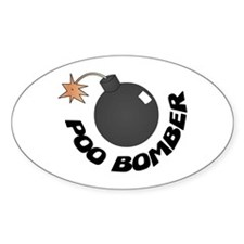 Poo Bomber Oval Stickers