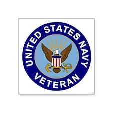 "Navy-Veteran-CN.gif Square Sticker 3"" x 3"""