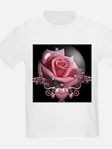 Pink Rose Globe Kids T-Shirt