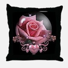 Pink Rose Globe Throw Pillow