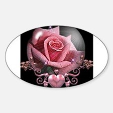 Pink Rose Globe Oval Decal