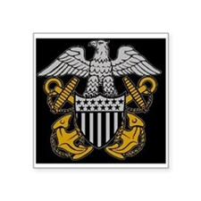 "Navy-Officer-Crest.gif Square Sticker 3"" x 3"""