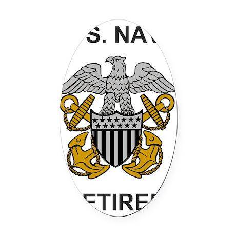 Navy-Retired-Officer.gif Oval Car Magnet
