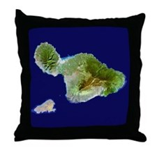 Maui & Kaho`olawe from Landsat Throw Pillow