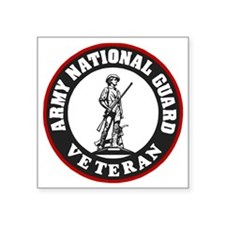 "ARNG-Veteran-Black-Red.gif Square Sticker 3"" x 3"""