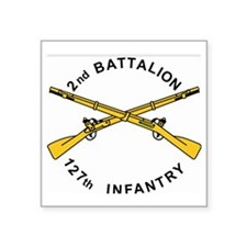 "ARNG-127th-Infantry-Shirt-X Square Sticker 3"" x 3"""