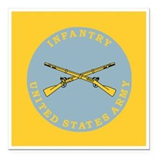 """Army-Infantry-Button.gif Square Car Magnet 3"""" x 3"""""""