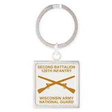 ARNG-128th-Infantry-2nd-Bn-Shirt-6 Square Keychain
