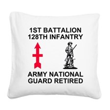 ARNG-128th-Infantry-1st-Bn-Re Square Canvas Pillow