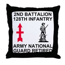 ARNG-128th-Infantry-2nd-Bn-Retired-Sh Throw Pillow