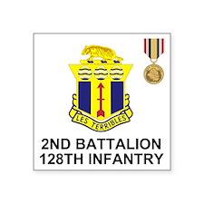 "ARNG-128th-Infantry-2nd-Bn- Square Sticker 3"" x 3"""