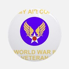 AAC-Veteran-Black Round Ornament