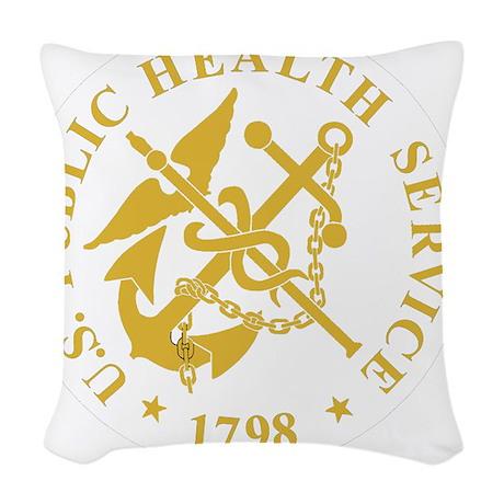 USPHS-Black-Shirt-3 Woven Throw Pillow