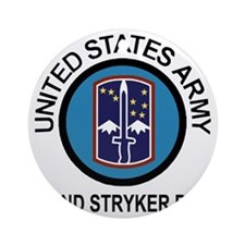Army-172nd-Stryker-Bde-Shirt-Blk-Bl Round Ornament