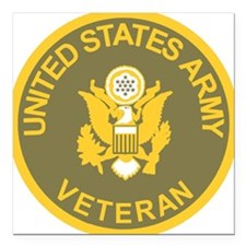 "Army-Veteran-Olive-Gold. Square Car Magnet 3"" x 3"""