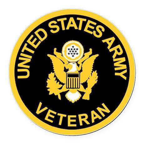 Army-Veteran-Black-Gold.gif Round Car Magnet