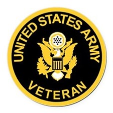 Army-Veteran-Black-Gold.gif Round Car Magnet