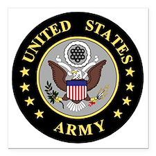 "Army-Emblem-3-Black-Silv Square Car Magnet 3"" x 3"""