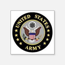 "Army-Emblem-3-Black-Silver. Square Sticker 3"" x 3"""