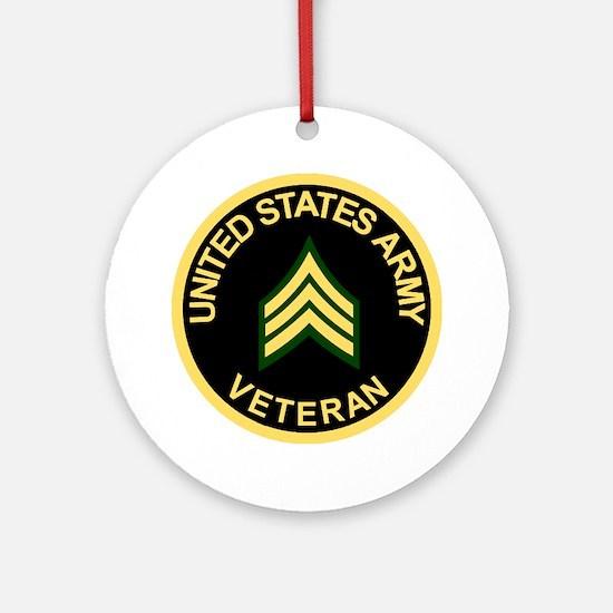 Army-Veteran-Sgt-Black.gif Round Ornament