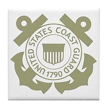 USCG-Black-Shirt-3 Tile Coaster