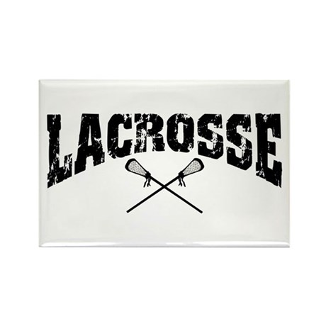 Lacrosse Rectangle Magnet (100 pack)
