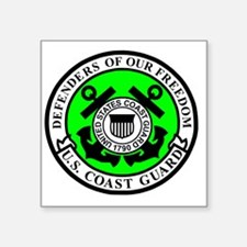 """USCG-Defenders-Of-Freedom-A Square Sticker 3"""" x 3"""""""