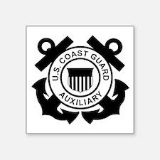 """USCGAux-Logo-Black.gif Square Sticker 3"""" x 3"""""""