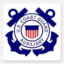 "USCGAux-Logo-Bonnie.gif Square Car Magnet 3"" x 3"""